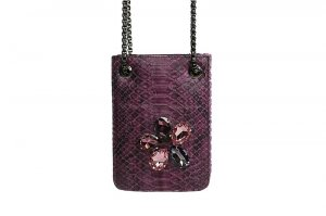 Burgundy Snake Messenger with Multicolored Stones